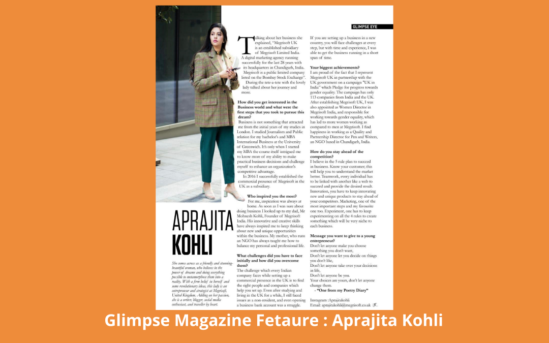 Entrepreneurship: From Chaos to Success : Glimpse Magazine Feature